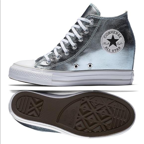 c5ce6e9fcb2672 Women s Chuck Taylor Lux Wedge Shoe Silver
